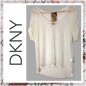 DKNY Jeans White Lace Shirt Blouse Small Nwt